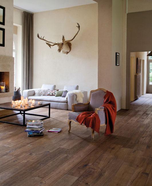 un grand salon dont le sol est revêtu de parquet brut. un fauteuil de style, un canapé et un trophée de chasse complètent la décoration.