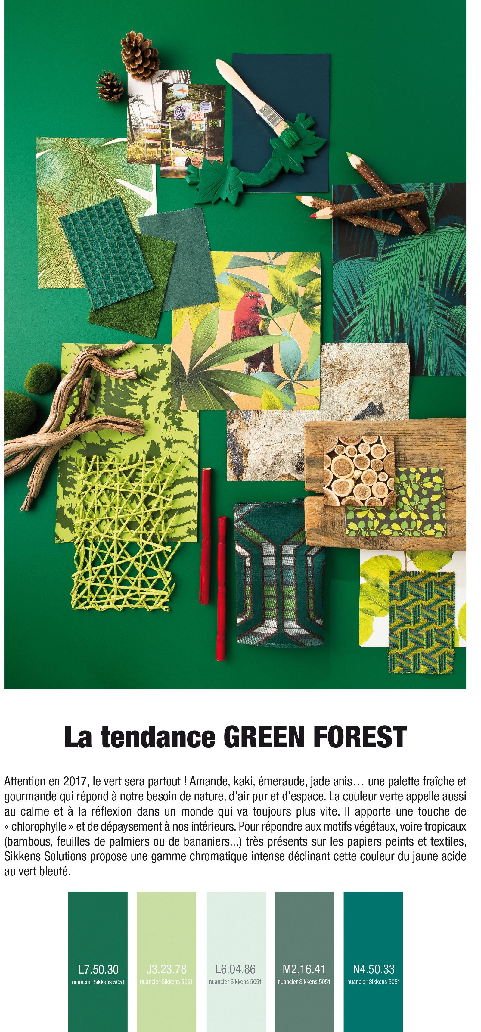 Pêle mêle de matériaux (papiers peints, tissus, peintures, bois...) exprimant la tendance décorative Green Forest