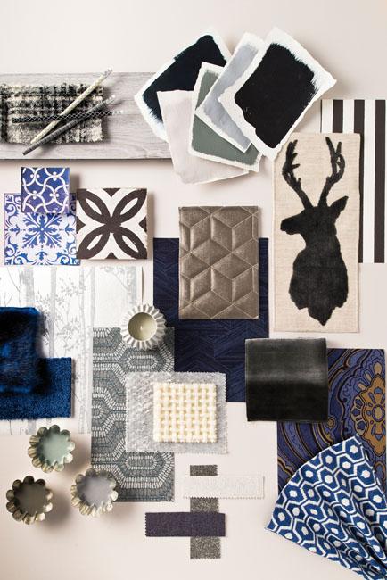 un pêle mêle d'objets et d'échantillons de matériaux exprime la tendance Soft Grey, des nuances de gris doux et chaleureux.