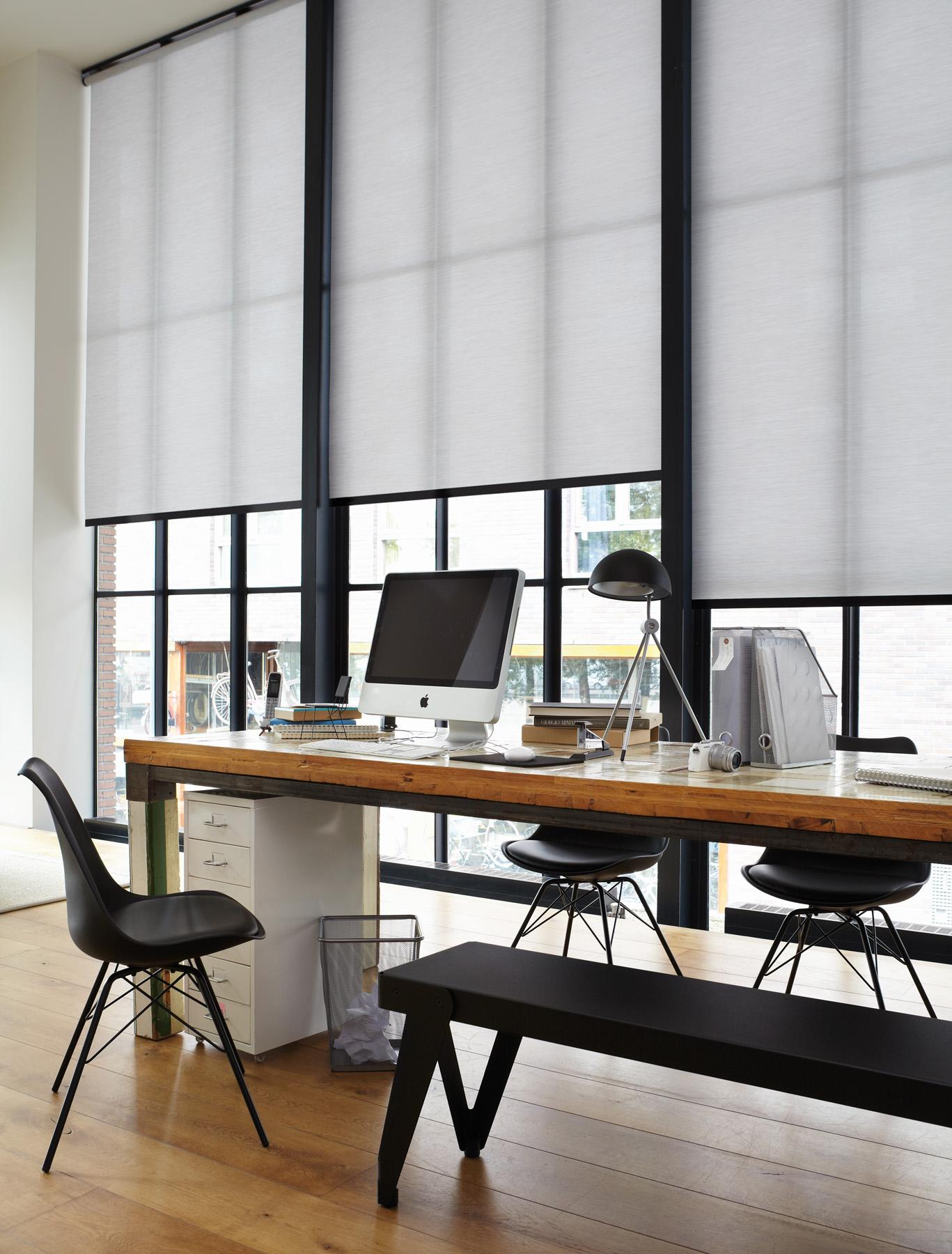 Style industriel : de grands stores rouleaux blancs devant de sbaies vitrées créent un espace bureau inspirant.