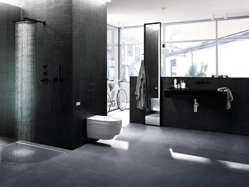 une grande sale d'eau ouverte avec en prmeier plan une douche à l'italienne et un WC suspendu sur onf de carrelage noir