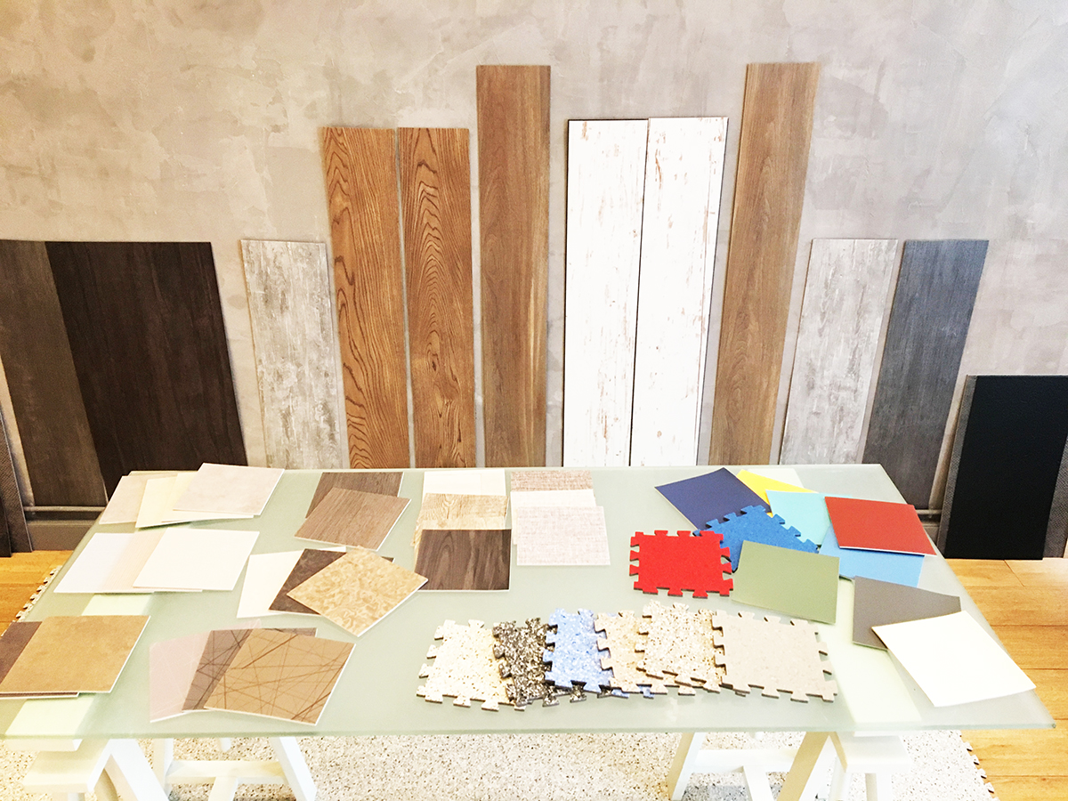 Une matériauthèque dédiée aux sols vinyles. Échantillons des nouvelles collections Gerflor.