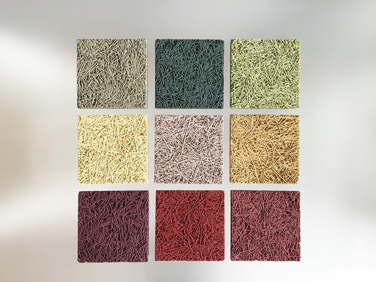 un composite de 9 échantillons de panneaux de laine de bois, en 9 coloris différents, illustrant la tendance Color mix : 3 verts, 3 jaunes et 3 rouge.