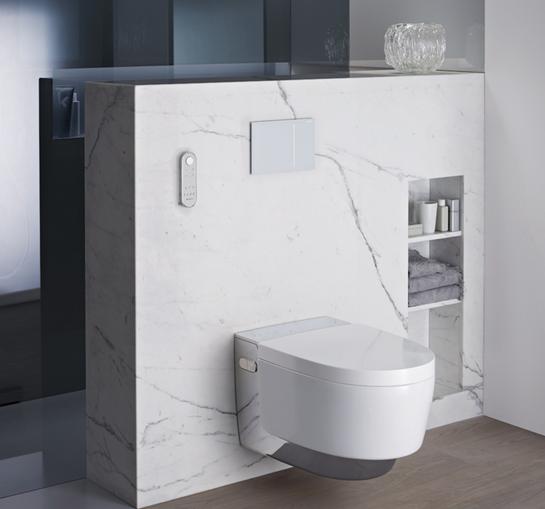 """un WC lavant Geberit haut de gamme """"trône"""" dans une salle de bains en marbre"""