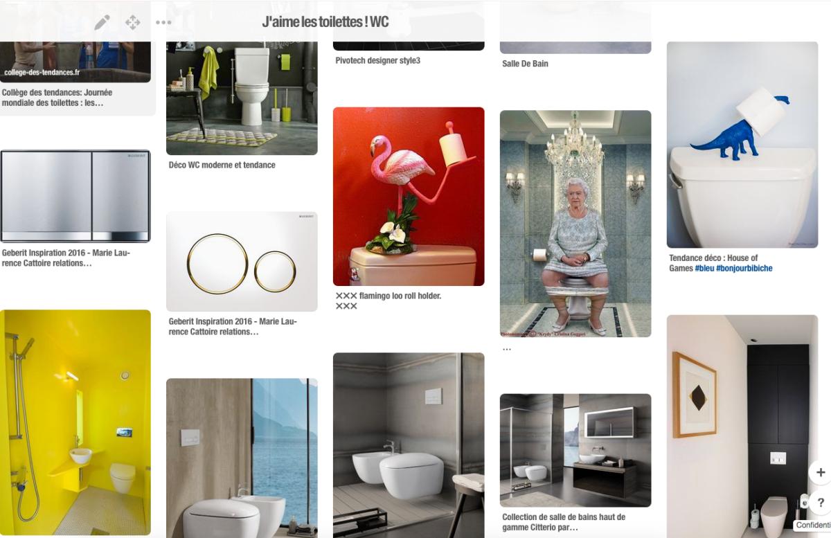 """une capture d'écran d'un tableau Pinterest intitulé """"J'aime les toilettes"""""""