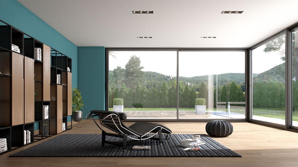 un fauteuil de designer fait face à une large baie vitrée avec vue sur la forêt environnante. Esprit Geen forest