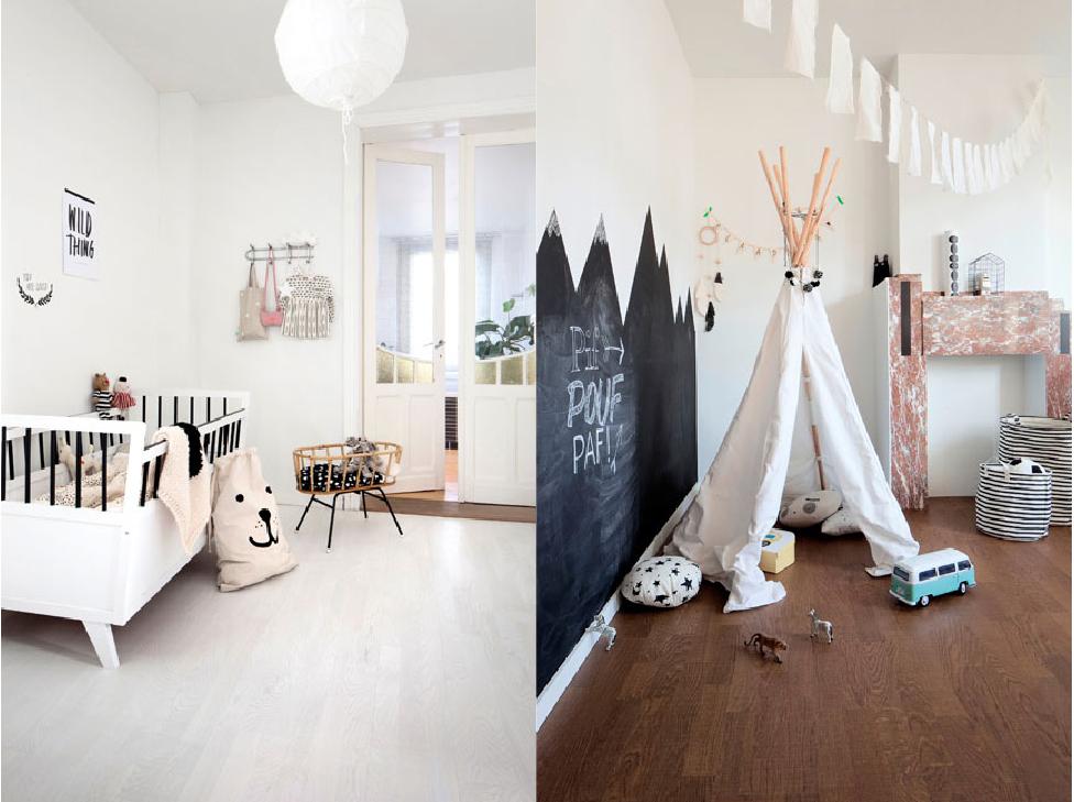deux ambiances chambres d'enfants avec un joli parquet bois au sol