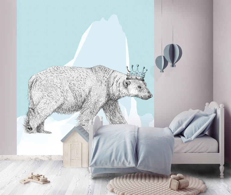 jli chambre enfant décoré d'un panneau mural représentatn un ours comme dessiné au stylo bille noir