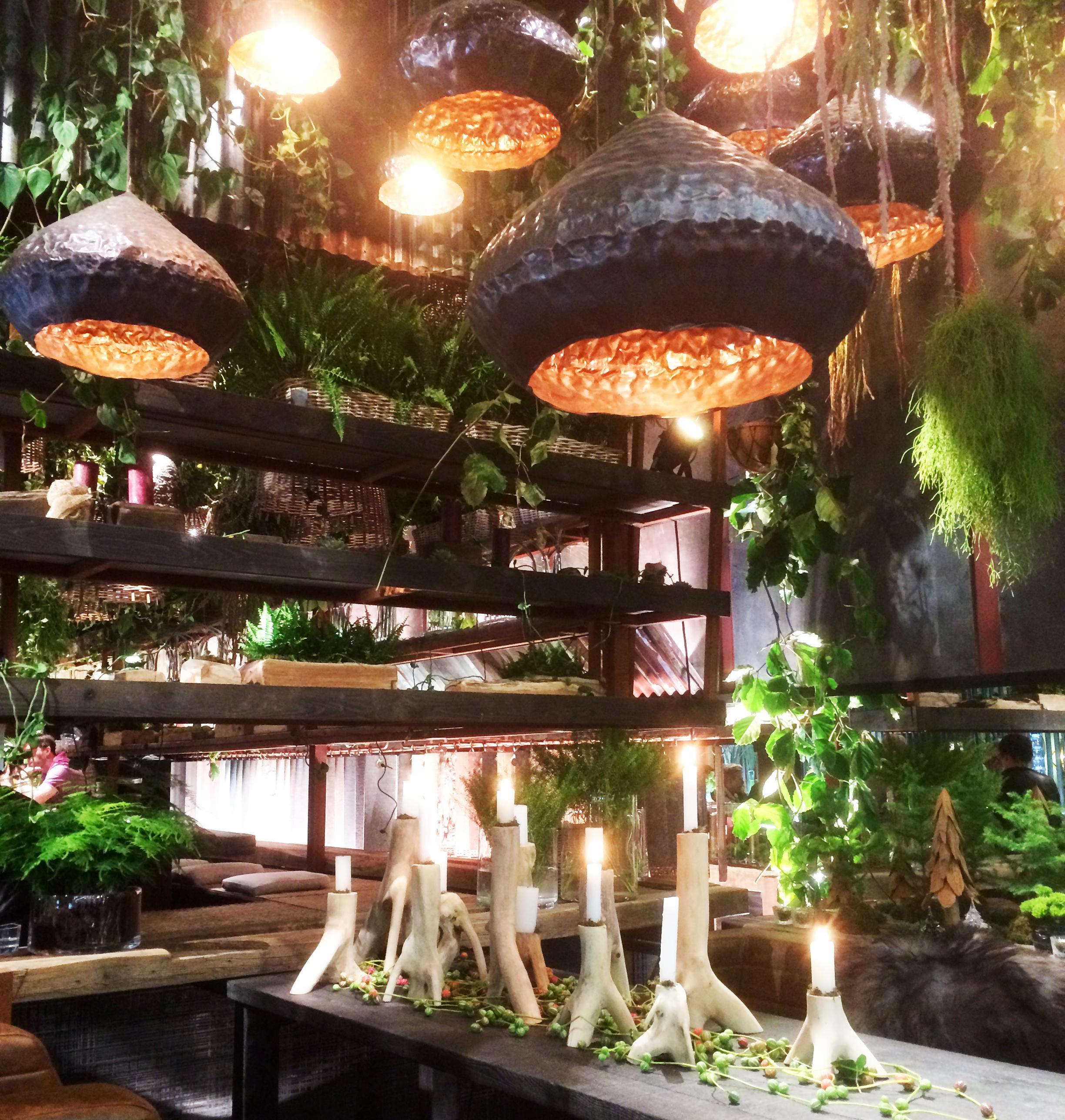 Une nature luxuriante et omniprésente en particulier au plafond avec des suspensions ethniques et une profusion de plantes suspendues