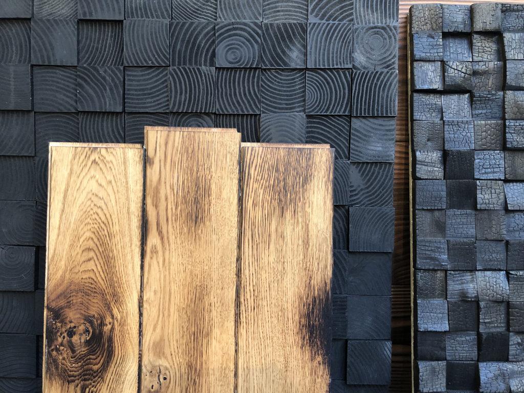 Des parquets et revêtements fabriqués à partir de bois brûlé