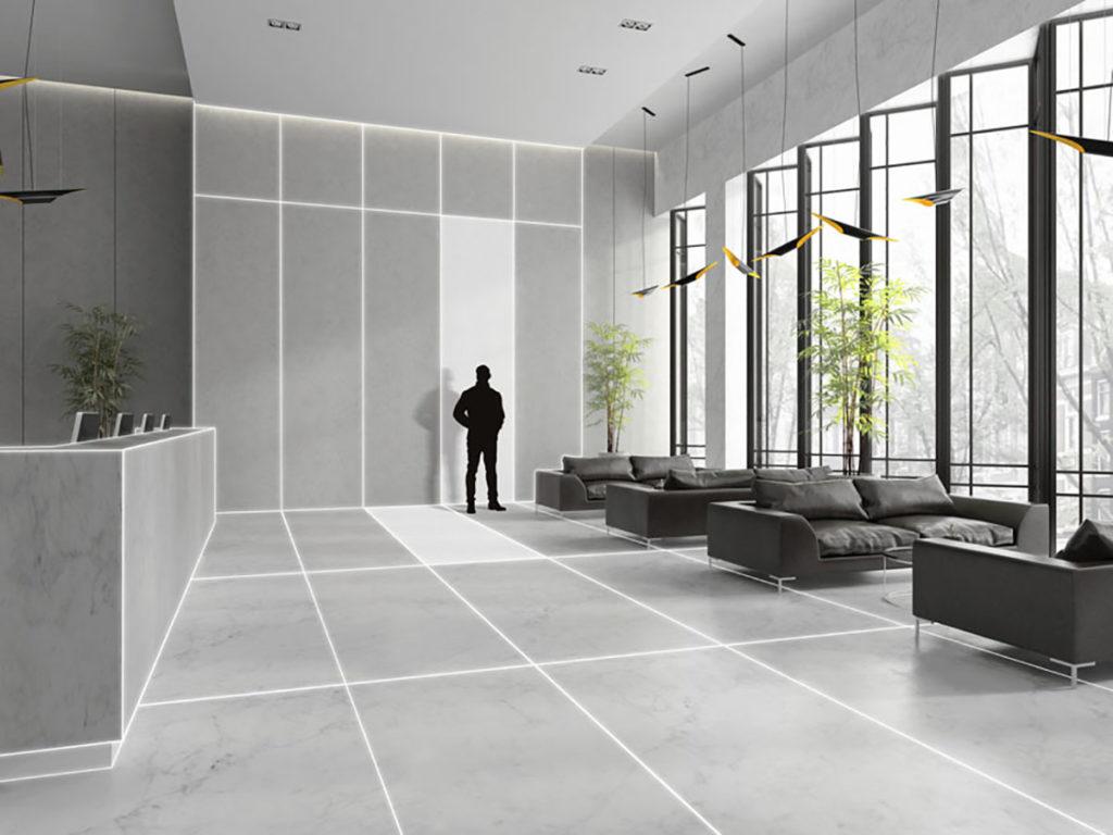 Une 3D architecturale pour mettre en avant le gris dans la décoration d'un hall d'accueil