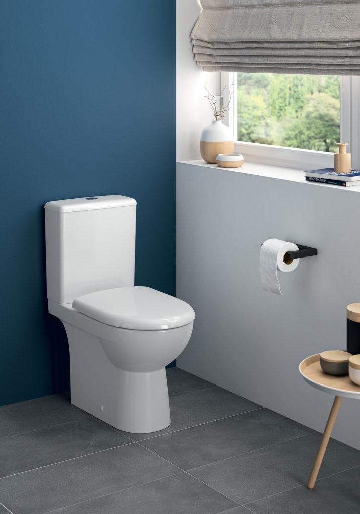 un coin toilette réhaussé par un joli bleu canard